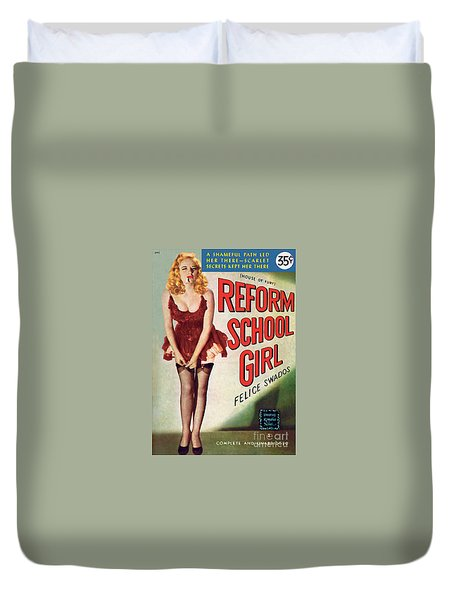 Duvet Cover featuring the painting Reform School Girl by Photo Cover