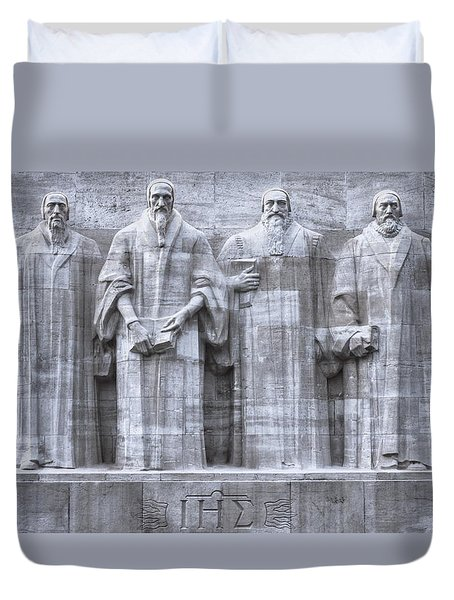 Reformers Wall, Geneva, Switzerland, Hdr Duvet Cover