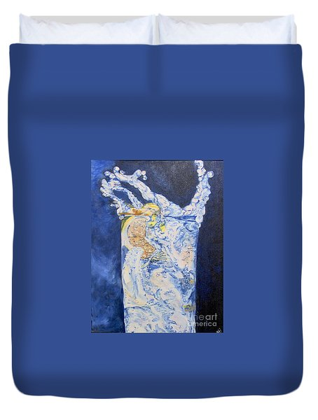 Duvet Cover featuring the painting Refresh by Saundra Johnson