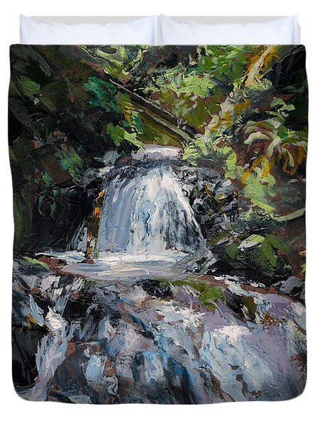 Duvet Cover featuring the painting Refreshed - Rainforest Waterfall Impressionistic Painting by Karen Whitworth