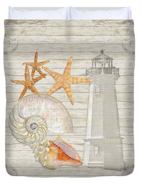 Refreshing Shores - Lighthouse Starfish Nautilus N Conch Over Driftwood Background Duvet Cover