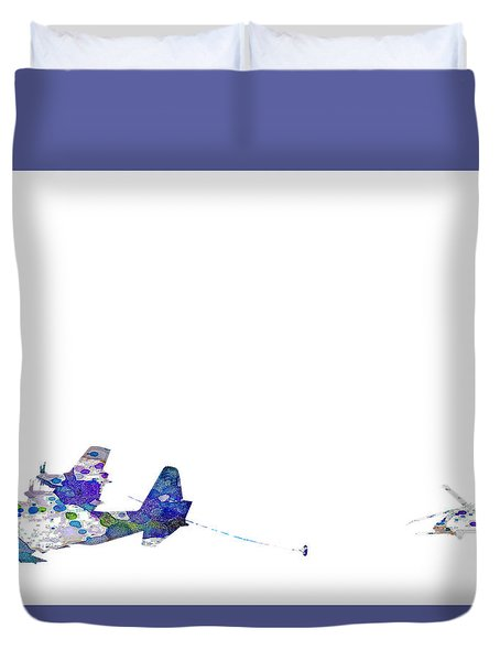 Duvet Cover featuring the digital art Refueling Watercolor On White by Bartz Johnson