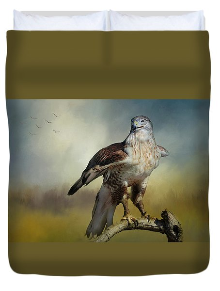 Duvet Cover featuring the photograph Regal Bird by Barbara Manis