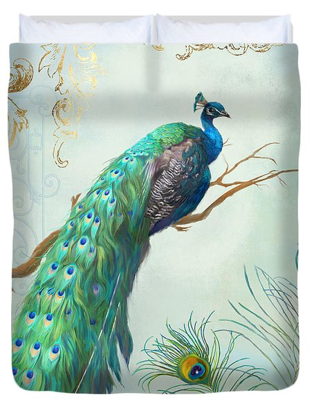 Regal Peacock 1 On Tree Branch W Feathers Gold Leaf Duvet Cover by Audrey Jeanne Roberts