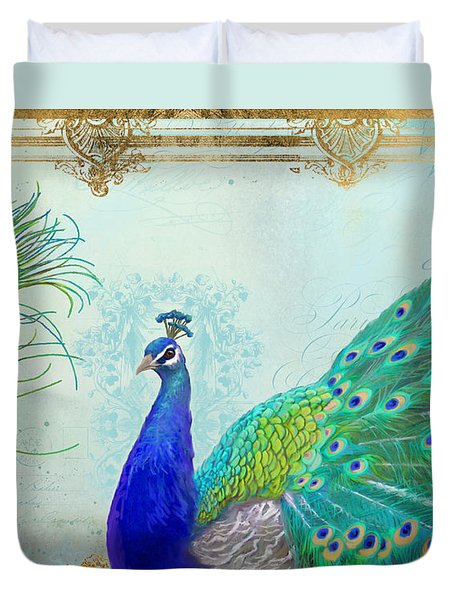 Regal Peacock 2 W Feather N Gold Leaf French Style Duvet Cover