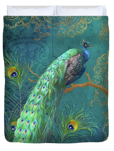 Duvet Cover featuring the painting Regal Peacock 3 Midnight by Audrey Jeanne Roberts