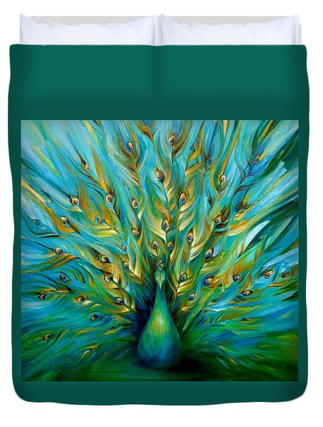 Duvet Cover featuring the painting Regal Peacock by Dina Dargo