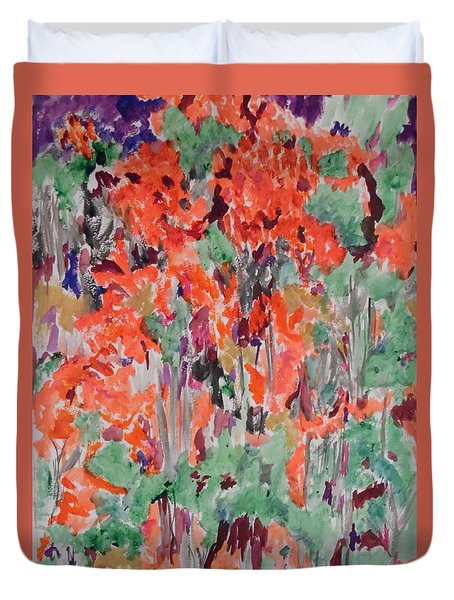 Regal Red Fall Foliage Duvet Cover by Esther Newman-Cohen