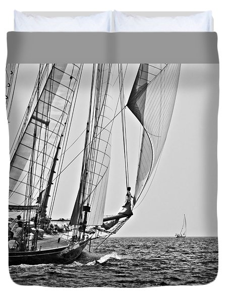 Regatta Heroes In A Calm Mediterranean Sea In Black And White Duvet Cover