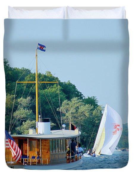 Regatta Watcher - Lake Geneva Wisconsin Duvet Cover