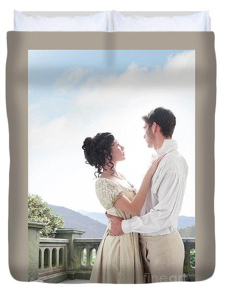 Regency Couple Embracing On The Terrace Duvet Cover