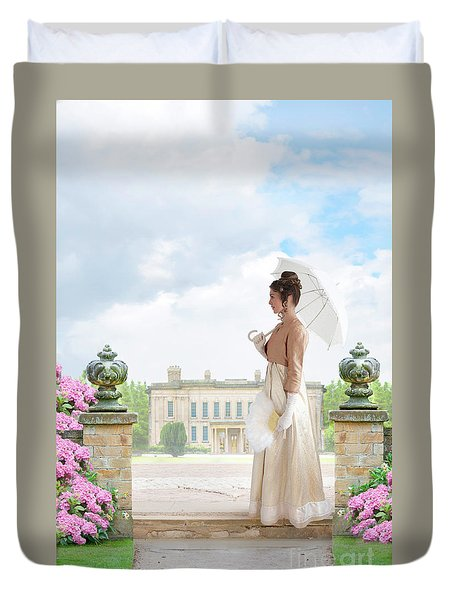 Regency Woman In The Grounds Of A Historic Mansion Duvet Cover