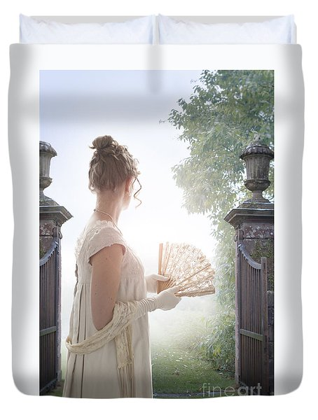 Regency Woman Looking Through A Gateway Duvet Cover