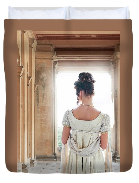 Regency Woman Under A Colonnade Duvet Cover