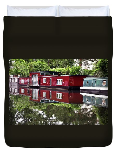 Duvet Cover featuring the photograph Regent Houseboats by Keith Armstrong