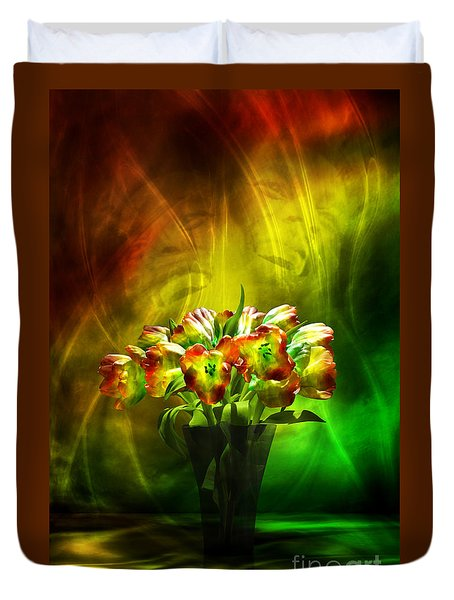 Duvet Cover featuring the digital art Reggae Tulips by Johnny Hildingsson