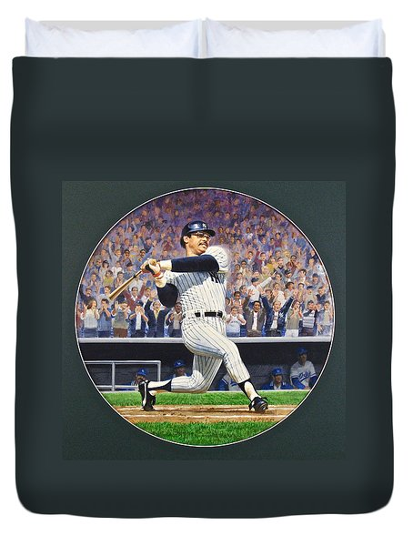 Duvet Cover featuring the painting Reggie Jackson by Cliff Spohn