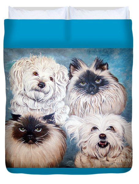 Reigning Cats N Dogs Duvet Cover by Nancy Cupp
