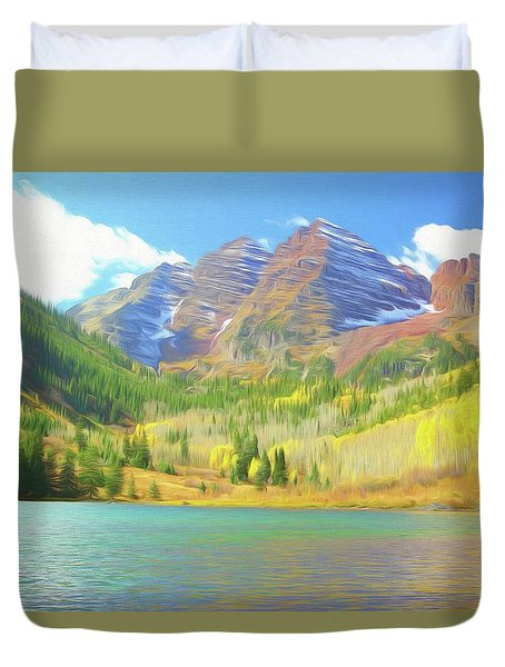 Duvet Cover featuring the photograph The Maroon Bells Reimagined 1 by Eric Glaser