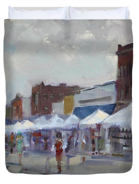 Rein And Sun At Canal Fest In North Tonawanda Duvet Cover