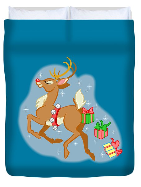Reindeer Gifts Duvet Cover by J L Meadows