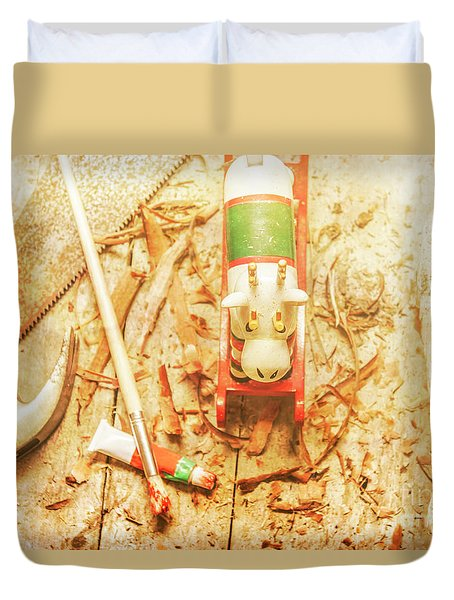 Reindeer With Tools And Wood Shavings Duvet Cover