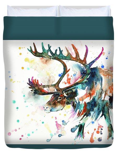 Duvet Cover featuring the painting Reindeer by Zaira Dzhaubaeva