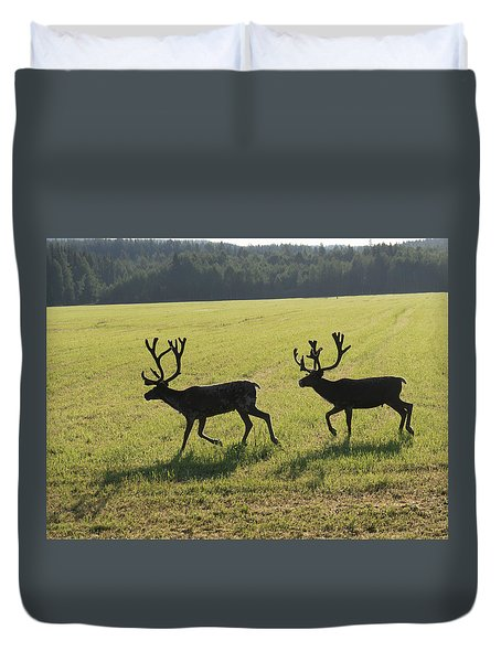 Reindeers On Swedish Fjeld Duvet Cover