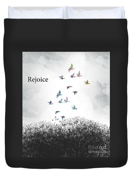 Duvet Cover featuring the digital art Rejoice by Trilby Cole