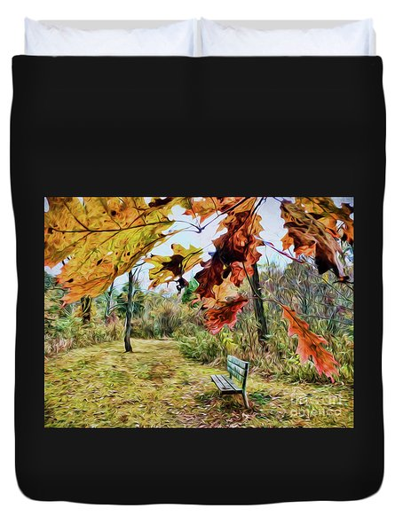 Duvet Cover featuring the photograph Relax And Watch The Leaves Turn by Kerri Farley