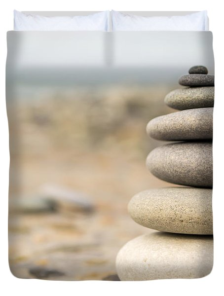 Duvet Cover featuring the photograph Relaxation Stones by John Williams
