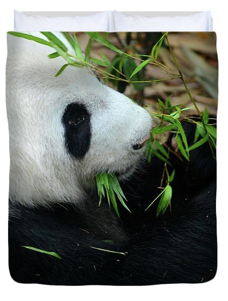 Relaxed Panda Bear Eats With Green Leaves In Mouth Duvet Cover