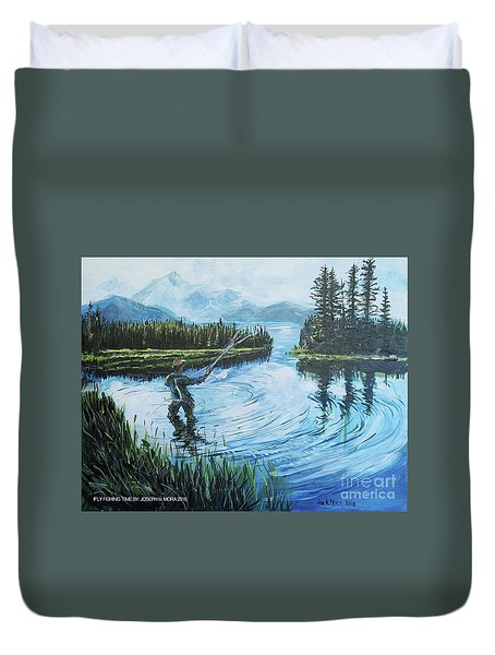 Relaxing @ Fly Fishing Duvet Cover