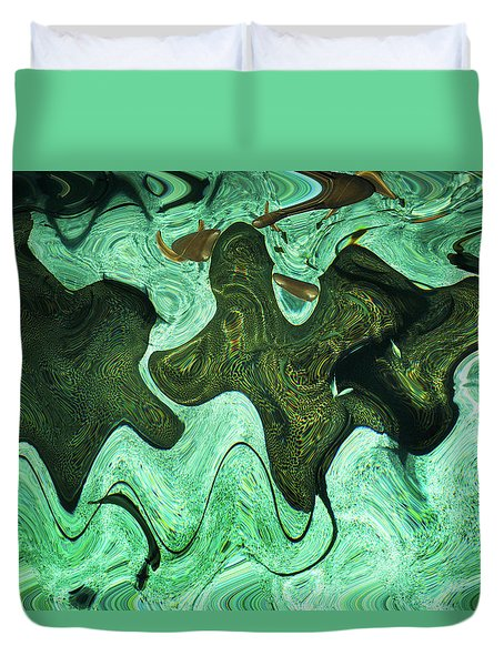 Relaxing Abstract Of Rays And Sharks Duvet Cover