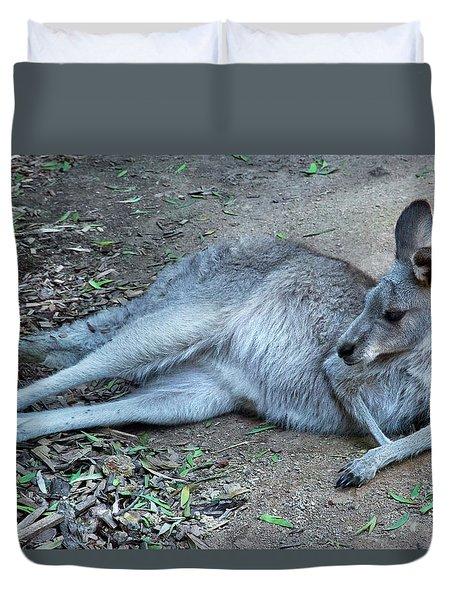 Duvet Cover featuring the photograph Relaxing Kangaroo by Miroslava Jurcik