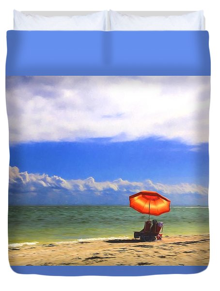Duvet Cover featuring the digital art Relaxing On Sanibel by Sharon Batdorf