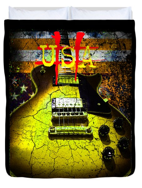 Duvet Cover featuring the photograph Relic Guitar Music Patriotic Usa Flag by Guitar Wacky