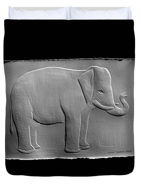 Relief Elephant Drawing Duvet Cover