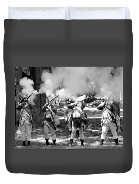 Reliving History-bw Duvet Cover