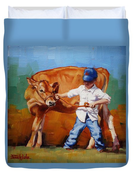 Duvet Cover featuring the painting Reluctant Showgirl by Margaret Stockdale