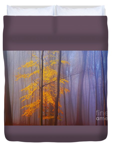 Duvet Cover featuring the photograph Remaining Yellow by Rima Biswas