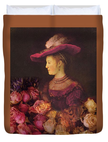 Rembrandt Saskia Van Uylenburgh Antique Pink Roses Duvet Cover by Suzanne Powers