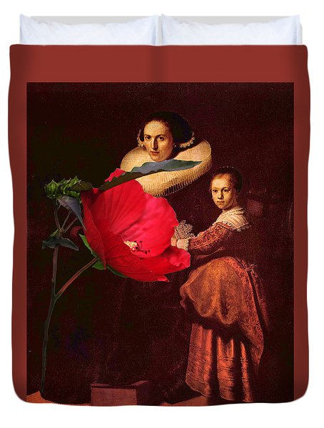 Rembrandt Susanne Van Collen And Her Daughter Anna With A Red Flower Duvet Cover by Suzanne Powers