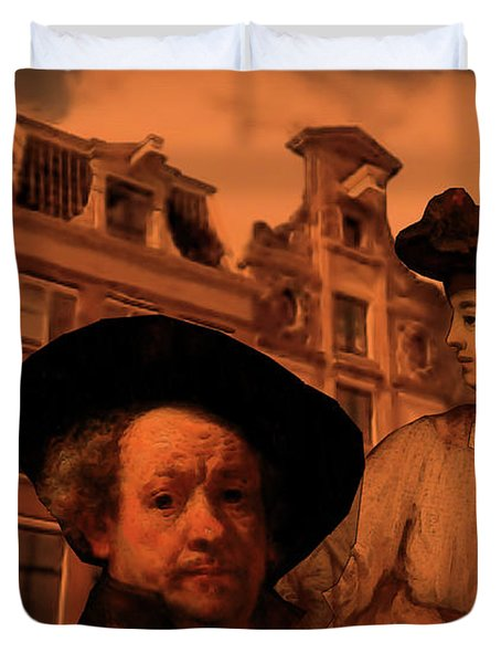 Rembrandt Study In Orange Duvet Cover
