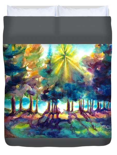 Duvet Cover featuring the painting Remember The Son by Kathy Braud