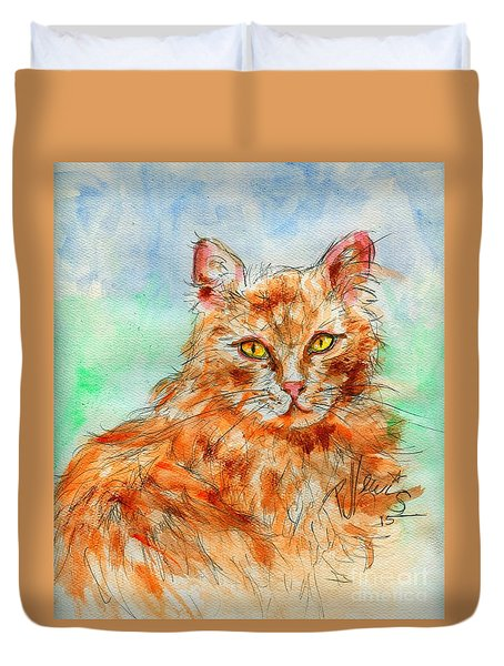 Remembering Butterscotch Duvet Cover by P J Lewis