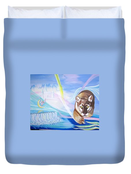 Duvet Cover featuring the painting Remembering Childhood Dreams by Phyllis Kaltenbach