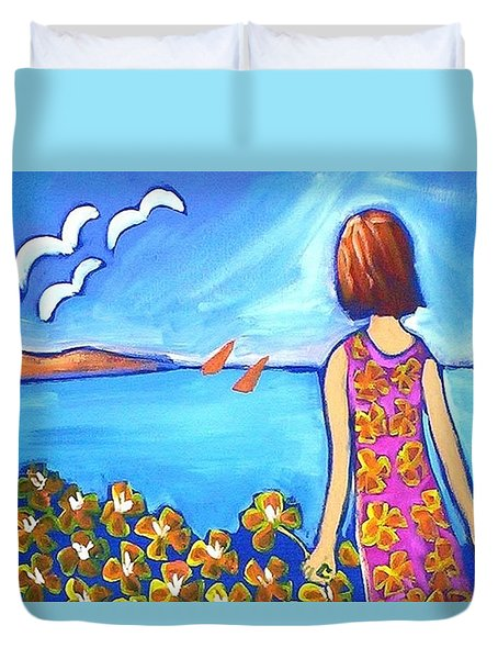Duvet Cover featuring the painting Remembering Joy by Winsome Gunning