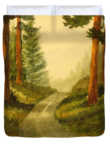 Remembering Redwoods Duvet Cover by Marilyn Jacobson