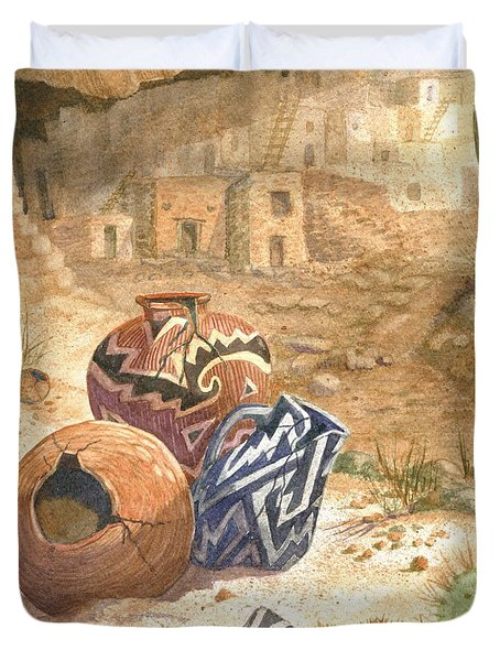Duvet Cover featuring the painting Remnants Of The Ancient Ones by Marilyn Smith